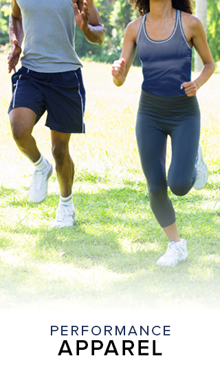 Picture of people running in sports clothing. Click to shop Performance Apparel.